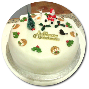 This year's Christmas Cake (recipe adapted from Mary Berry; mixed, baked, iced and decorated by Phil)