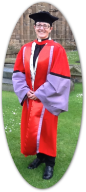 The Venerable Doctor Sue Groom, Archdeacon of Wilts, in her graduation gown (Durham, July 2016)